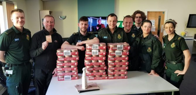 One of the emergency services teams receiving their Super-Licious Soup Pots